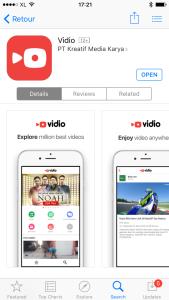 Aplikasi Vidio di App Store